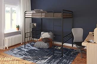 DHP Full Metal Loft Bed with Ladder, Space-Saving Design, Black