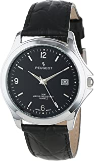 Peugeot Men's Classic Metal Leather Strap Buisness Watch