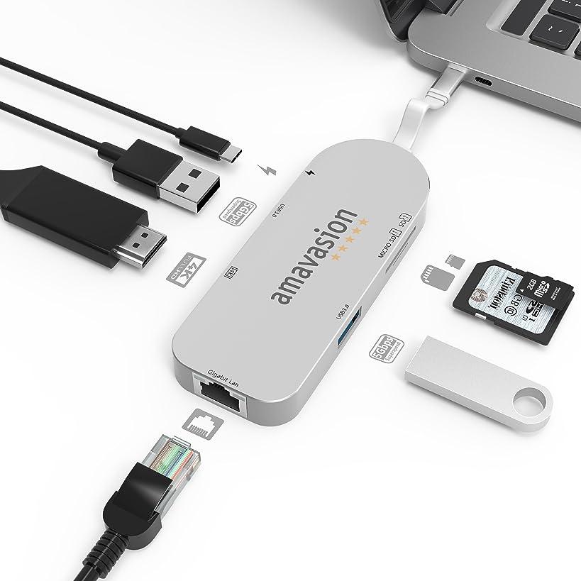 USB C Network HUB, Amavasion USB C HUB with Gigabit Ethernet Port 4K HDMI for MacBook, Mac Pro/Air, Laptop, Mini, iMac, Notebooks, Surface Pro, Chromebook.