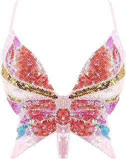 Women's Shimmer Sequin Crop Top Low-Cut Tube Top...