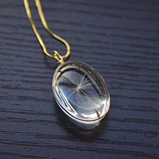 Dandelion Seed Make a Wish Real Flower Transparent Pendant Gold Plated Snake Chain Necklace