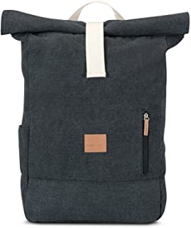Canvas Roll Top Backpack Men & Women JOHNNY URBAN Casual Daypack Water-repellant