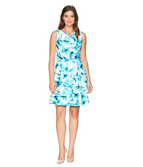 Scuba Invert Tuck Dress, Ivory/Turquoise