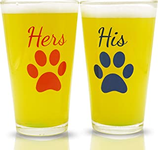 His and Hers Pint Beer Glasses Gift Set   Funny Engagement or Wedding Present   Perfect for Dog Lovers, Newlyweds, Anniversary Presents, Bride and Groom, and Couples