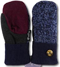 product image for Jack & Mary Designs Handmade Kids Fleece-Lined Wool Mittens, Made from Recycled Sweaters in the USA (blue/maroon/gray, Large)