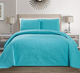 Mk Collection 3 pc King/California King Solid Embossed Bedspread Bed-cover Over Size Baby Blue/Turquoise 118