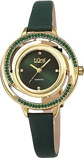 Colored Swarovski Crystals Women's Watch - Slim Genuine Leather Strap - Three Hand Movement with 4 Diamond Markers - Floating Enamel Dial - Round Analog Quartz - BUR261