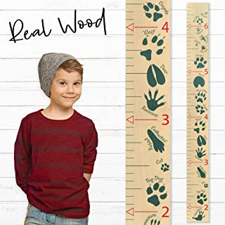Growth Chart Art | Wooden Growth Chart Ruler for Boys | Growth Chart Ruler Kids Height Chart | Measuring Kids Height Wall Décor for Kids | Animal Tracks Green