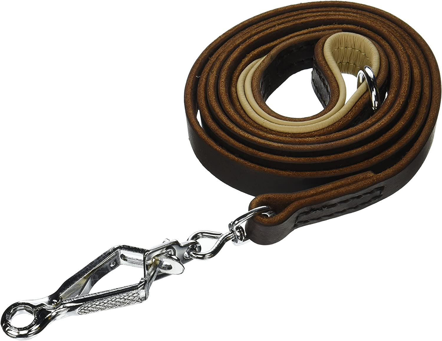 Dean & Tyler Soft Touch Brown Padding Dog Leash with Brown Stainless Steel Ring on Handle and Herm Sprenger Snap Hook, 6Feet by 3 4Inch