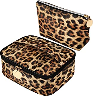 2 Pieces Leopard Print Cosmetic Bag Cheetah Makeup Bag Leopard Brush bag Toiletry Travel Bag Portable Pouch Bag with Zippe...