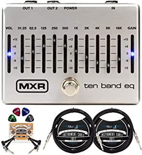MXR M108S Ten Band EQ Pedal for Electric Guitar and Bass Bundle with Hosa 2-Pack of 10-FT Straight Instrument Cable (1/4in), Blucoil 2-Pack of Pedal Patch Cables, and 4-Pack of Celluloid Guitar Picks