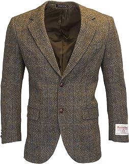 Walker & Hawkes - Mens Classic Scottish Harris Tweed Herringbone Overcheck Country Blazer Jacket - Clinton Brown - 38-48