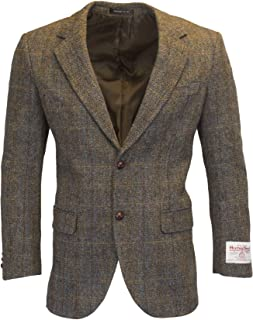 Walker & Hawkes - Mens Classic Scottish Harris Tweed Herringbone Overcheck Country Blazer Jacket - Clinton Brown - 38-48