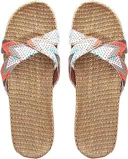 YAOLUU Summer Slippers Zapatillas de Interior de Mujeres y Hombres, Zapatillas de la casa de Lino de Verano Zapatos de San...
