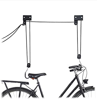 Relaxdays Colgador Bicicleta Techo, Metal, Negro, Hasta 57 kg