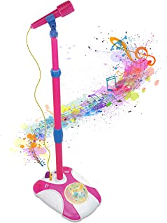 Karaoke Disco Light Adjustable Mic & Speaker Stand! Includes 12 pre-Loaded Popular Songs and Connects to iPods, Smartphones & MP3 Players (Pink)