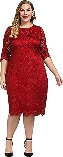 فستان شيك للنساء مبطن بالدانتيل، مقاس كبير، طول الركبة مع حاشية صدفية وأطراف أكمام