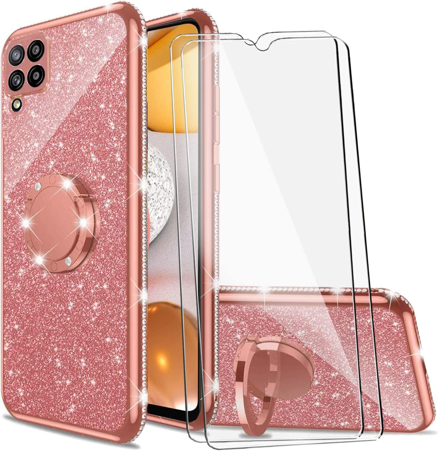 BTShare for Samsung Galaxy A12 5G Case & Tempered Glass Screen Protector (2 Packs), Luxury Glitter Sparkles Cute Bling TPU Silicone Kickstand Cover Slim fit for Women Girls Ring Holder Grip, Pink