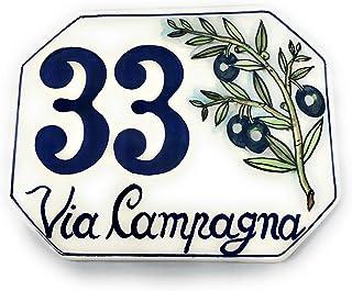 CERAMICHE D'ARTE PARRINI- ceramica italiana artistica, numero civico 15x12 personalizzato, decorazione olivo, dipinto a ma...