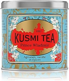 Kusmi Tea - Prince Vladimir - Russian Black Tea Blend with Vanilla, Bergamot & Other Spices - 8.8oz of All Natural, Premium Loose Leaf Black Tea Blend in Eco-Friendly Metal Tin (100 Servings)