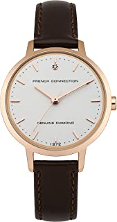 French Connection Women's Quartz Newgate White Dial Analog Display Watch for Women with Rose Gold Case and Brown Padded Leather Strap analog Display and Leather Strap, FC1279TRG