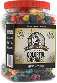 Farmer Jon's Colorful Caramel Popcorn, 16oz Jar of Gourmet Popped Popcorn