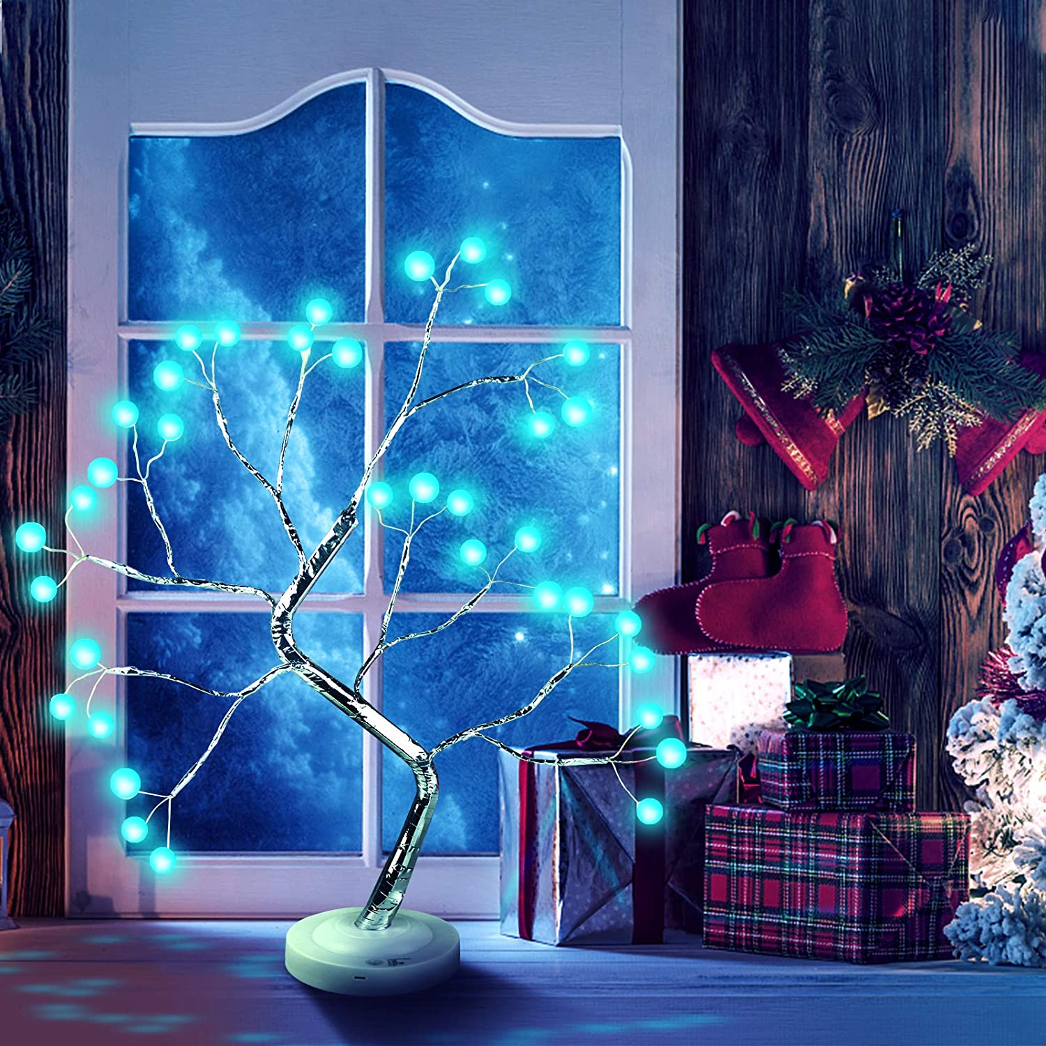 Battery//USB Operated DIY LED Desk Tree Lamp with Remote Control 16 Color 36 LED Crack Shaped lamp Adjustable Branches Desk Table Decor for Christmas Party Home Decoration Bonsai Tree Light