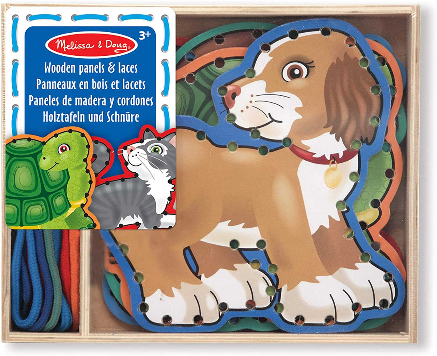 Melissa Doug Lace and Trace Activity 5 Popular Be super welcome brand Pets Wooden - Set: Pane