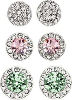 Rhodium Plated Set of 3 Halo and Multi-Crystal Stud Earrings, 11 Color Options
