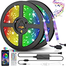 LED Strip Lights, 32.8ft RGB LED Light Strips 300 LEDs SMD5050 Color Changing Light Strips, Voice and Music Sync Smart LED...