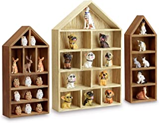 Ikee Design House-Shaped Wooden Shadow Cubby Box Display Shelf for Mini Toys Figures, Set of 3