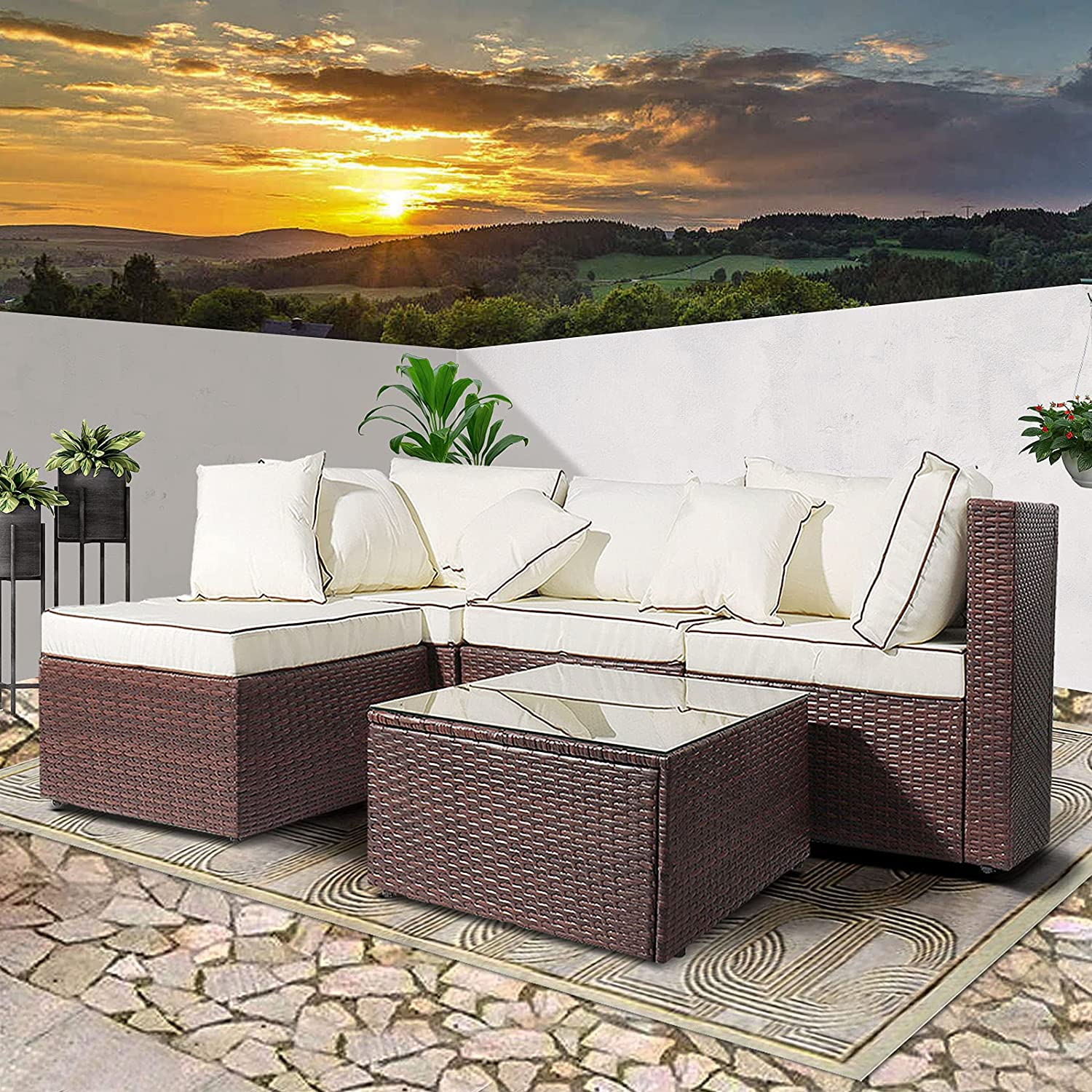 AWQM 5 Pieces Patio Furniture Sets All Weather Outdoor Sectional Sofa Manual Weaving Wicker Rattan Patio Conversation Set with Cushion and Glass Table, Brown