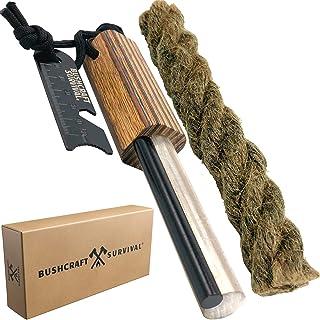 Bushcraft Survival Magnesium Fire Starter Survival Tool   Large Ferro Rod & Magnesium Rod Combo with Striker & Jumbo Tinde...
