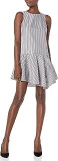 Donna Morgan Women's Sleeveless Striped Poplin Drop Torso Dress