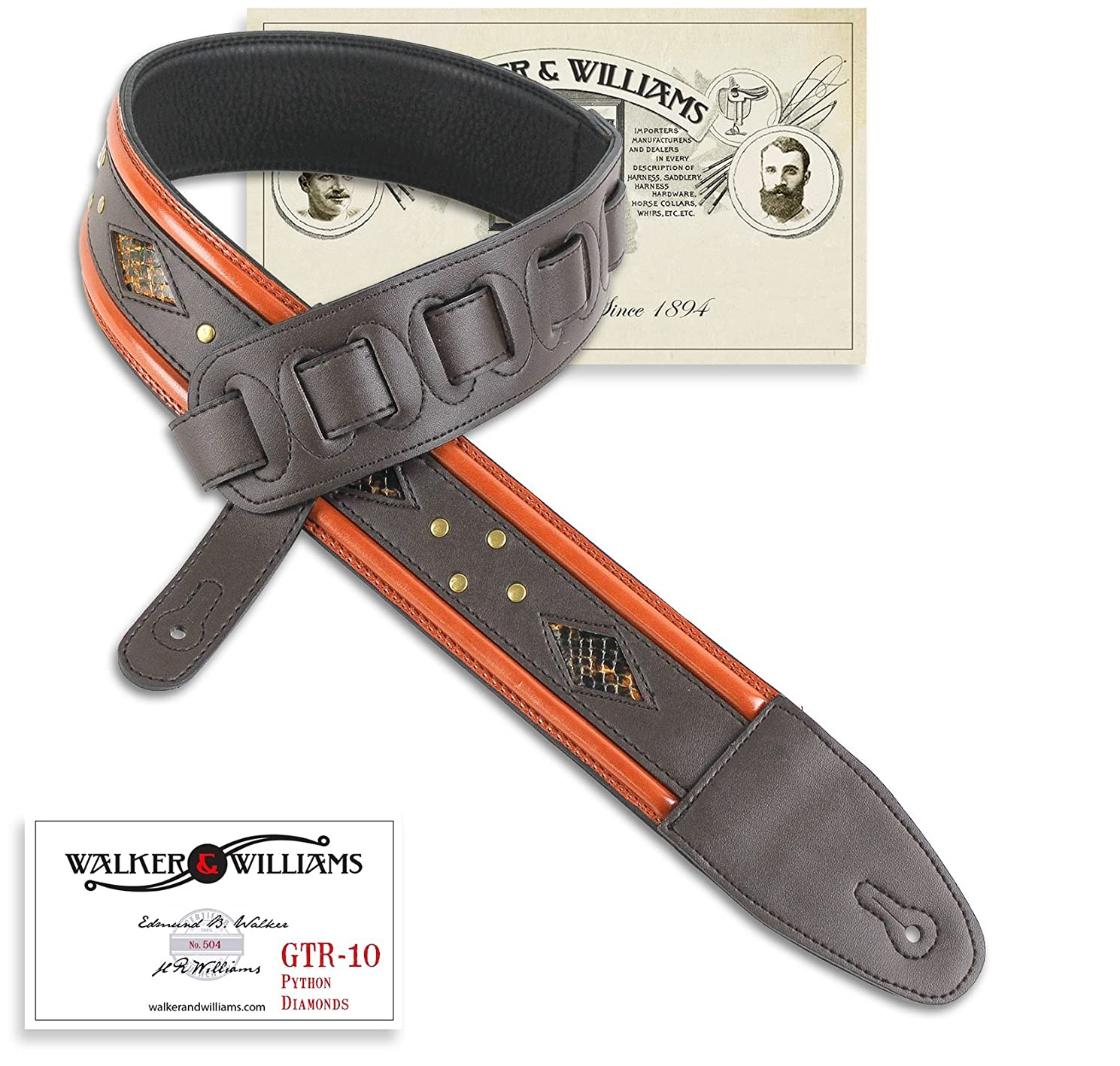 Walker & Williams GTR-10 Dark Brown with Python Diamond Inserts & Brass Rivets