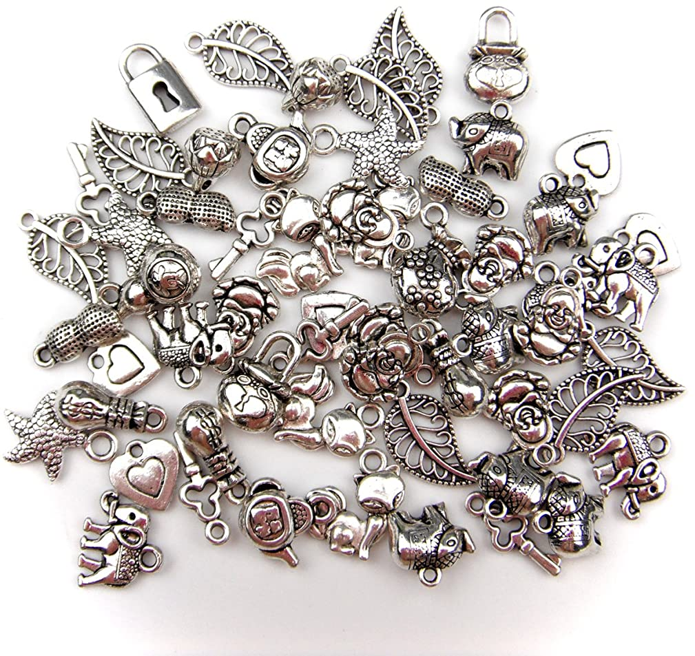ALL in ONE 60 Gram Mixed Antique Silver Tibetan Style Beads/flower Cup Beads/spacer Beads Charms Jewelry Findings (PENDANT 55PCS)