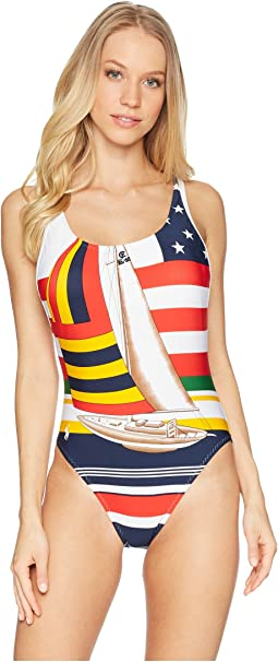 Sailboat Side Plunge One-Piece