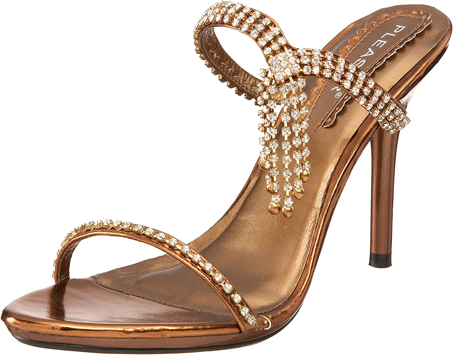 Pleaser Women's Enchant-02 Slip On Sandal,Bronze Metallic PU,9 M US
