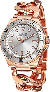 August Steiner Women's Swiss Diver Watch - Sunray Dial with Luminescent Hands on Twist Chain Bracelet - AS8079