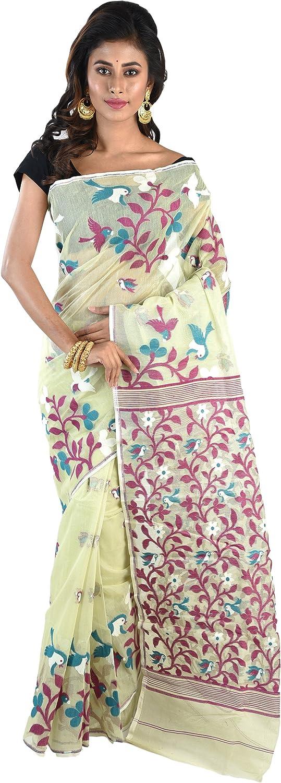 Ruprekha Fashion Cotton Silk Light Green Minakari Dhakai Jamdani Handloom Saree