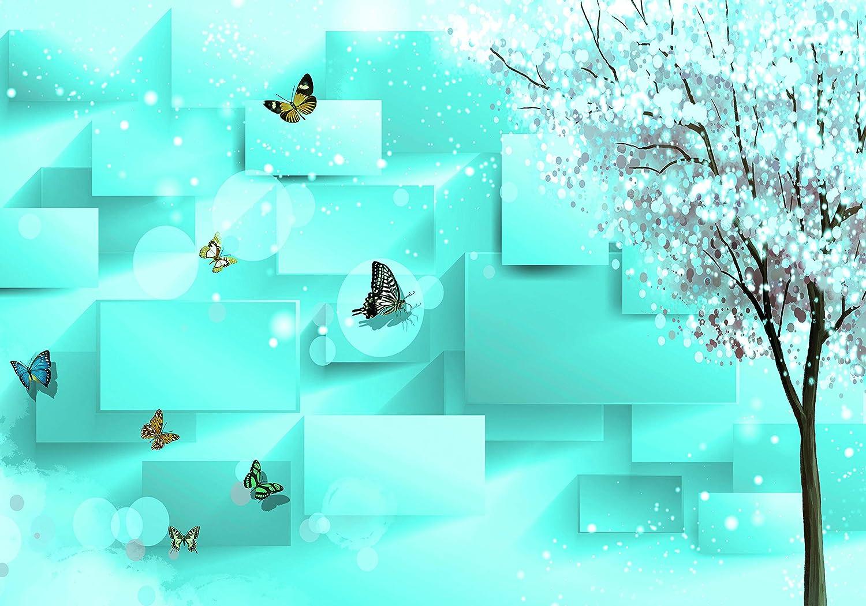 Wandmotiv24 Fototapete türkis Baum Blättern Schmetterlinge Glitzsern Quadrate M4244 S 200 x 140cm - 4 Teile Wandbild - Motivtapete B07NKV7HT8