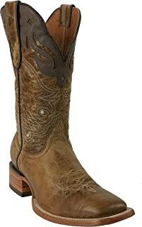 Hand Made Men's New Durable Leather Cowboy Western Square Work Boots Sand