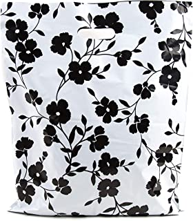 Merchandise Bags 15x18 - Black Floral Print - 100 Pack - Glossy Retail Bags - Shopping Bags for Boutique - Boutique Bags - Plastic Shopping Bags