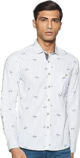 CHEROKEE Men's Printed Regular fit Casual Shirt (400020227034_Blue L)