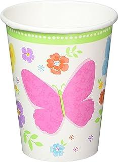 Amscan Celebrate Spring Paper Cups Disposable Drinkware (18 Pieces), Multicolor, 9 oz