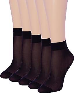 5 Pack Women's Ankle High Sheer Socks Silky Hosiery