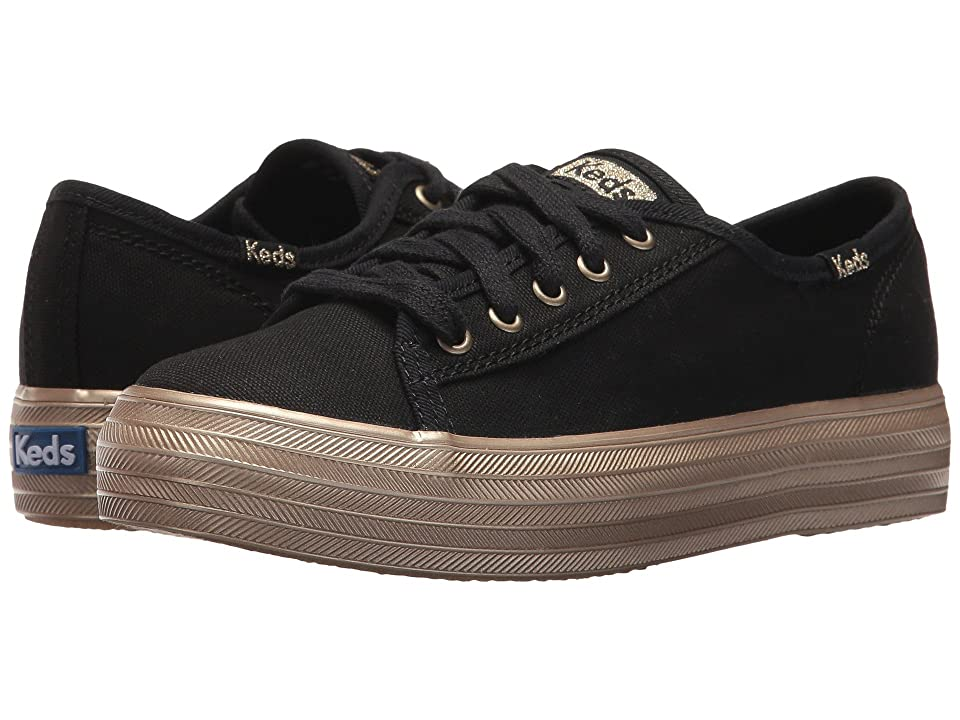 Keds Kids KE-Triple Kick (Little Kid/Big Kid) (Black/Gold) Girl