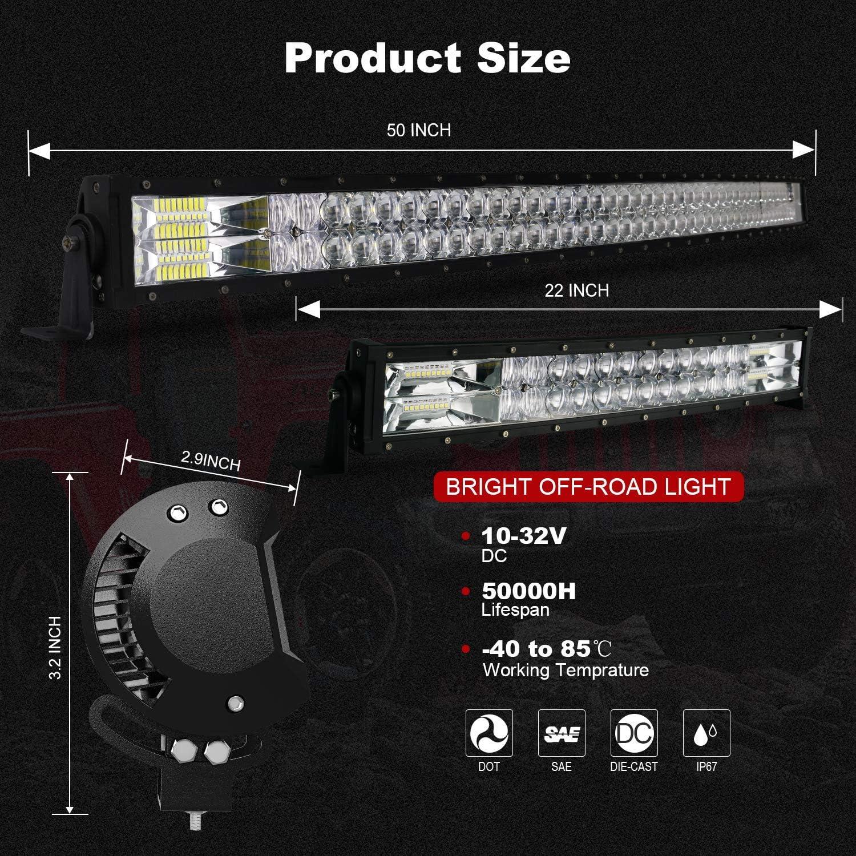 TERRAIN VISION LED Light Bar 50 Inch 22 Inch Curved Led Bar Off Road Light W// 4pcs 4In 60W LED Pods Fog Lights with Wiring Harness Kit for Jeep Trucks Polaris ATV UTV Boat Light Bars
