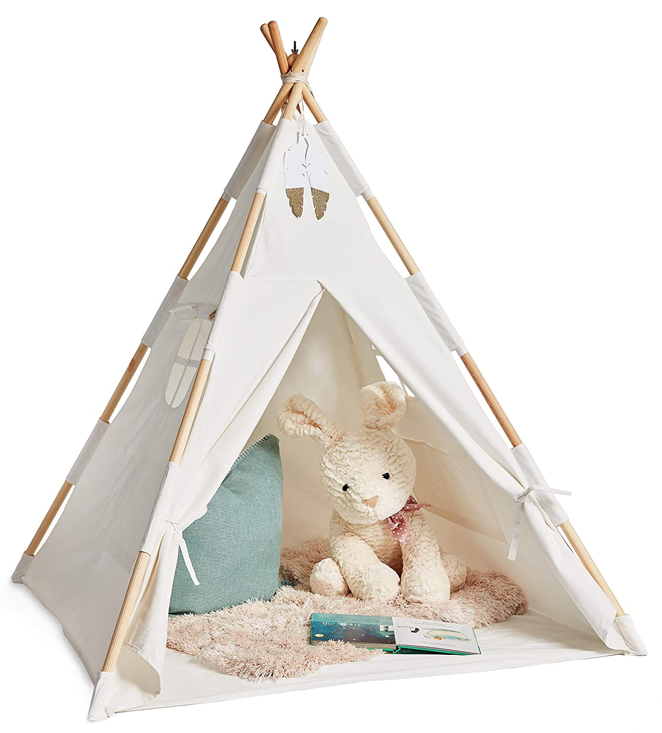 Eqoya Teepee Tent for Kids, Boys & Girls, Babies & Adults, 100% Cotton Indoor & Outdoor Toddler Play-House, Children Tee-Pee Tents, Kid Safe Natural Materials Tipi, with Bag and Mat, Extra Stable