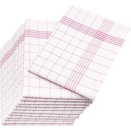 Zollner Set de 12 torchons en lin, rouge-blanc (autres disponibles), 60x80 cm